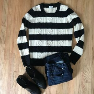 Madewell Wallace Black White Cable Sweater